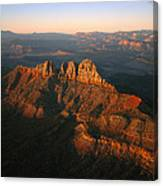 Low Sunlight Shines On Mountains Canvas Print