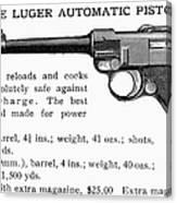 Luger Automatic Pistol Canvas Print