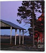Lunar Eclipse At The Farm Canvas Print
