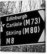 M8 Motorway Sign In Glasgow Scotland Uk Canvas Print