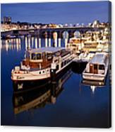 Maastricht Jetty On Maas River Canvas Print