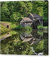 Mabry Mill And Pond With Reflection Canvas Print