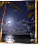 Maceio - Brazil - Ponta Verde Beach Under The Moonlit Canvas Print