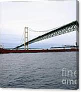 Mackinac Bridge With Ship Canvas Print