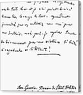 Madame De Stael Letter Canvas Print