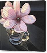 Magnolia Blossom In Glass Mug Canvas Print