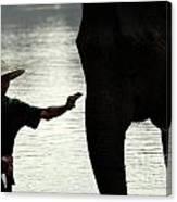 Mahut With Elephant Canvas Print