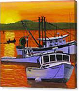 Maine Fishing Boats At Sunset Port Clyde Painting Canvas Print