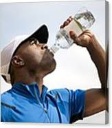 Man Drinking Bottled Water Canvas Print