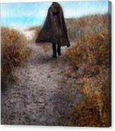 Man In Cape And Top Hat By The Sea Canvas Print