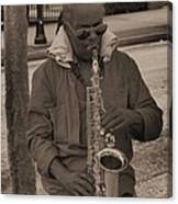 Man Playing His Saxophone Canvas Print
