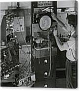 Man Testing Early Television Equipment Canvas Print