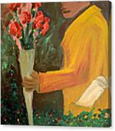 Man With Flowers  Canvas Print