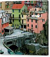 Manarola Houses On The Cinque Terre II Canvas Print