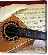 Mandolin And Partiture Canvas Print