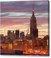 Manhattan Buildings And Pre-sunrise Sky Canvas Print