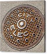 Manhole Cover In Chicago Canvas Print