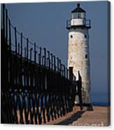 Manistee Harbor Lighthouse And Cat Walk Canvas Print