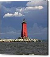 Manistique Lighthouse In Michigan's Upper Peninsula Canvas Print