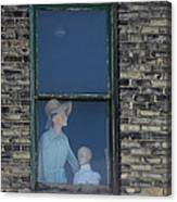 Mannequins Lost In The Window. Canvas Print