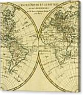 Map Of The World In Two Hemispheres Canvas Print