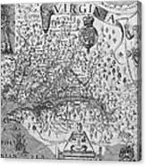 Map Of Virginia, 1624 Canvas Print