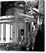 Marching Band Drummer Boy Bw Canvas Print