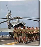 Marines And Sailors Run Aboard Uss Canvas Print