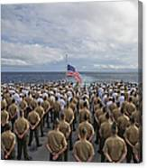 Marines And Sailors Stand In Formation Canvas Print