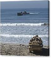 Marines Await The Arrival Of An Canvas Print