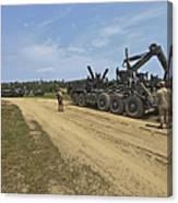 Marines Offload A Logistics Vehicle Canvas Print