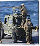Marines Provide Security Aboard Canvas Print