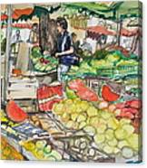 Market At Aix En Provence Canvas Print