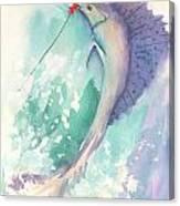 Marlin On The Hook Canvas Print