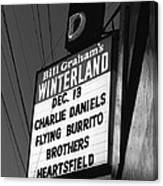 Marquee At Winterland In Late 1975 Canvas Print