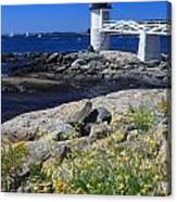 Marshall Point Lighthouse Summer Flowers Canvas Print