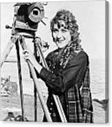Mary Pickford (1893-1979). Born Gladys Mary Smith. American Actress, With A Movie Camera On A Beach, C1916 Canvas Print