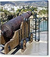 Medieval Cannon At The Balcon De Europa Canvas Print