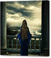 Medieval Lady Watching The Sea Canvas Print