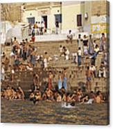 Men And Boys Bathe At An Ancient Ghat Canvas Print