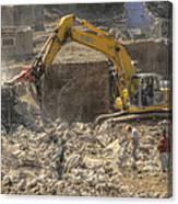 Men At Work Construction Site Canvas Print