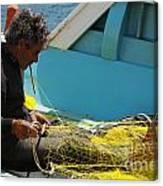 Mending His Nets Canvas Print