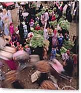 Merchants At Saqqaras Market Carry Canvas Print