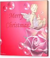 Merry Christmas Cherub And Rose Canvas Print