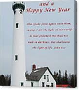 Merry Christmas Lighthouse Canvas Print