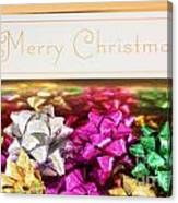 Merry Christmas Message With Colourful Bows Canvas Print