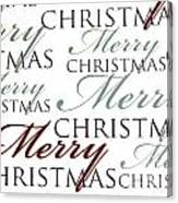 Merry Christmas Words Canvas Print
