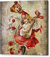 Merry Making Antique Girls In Red And White Grunge Canvas Print