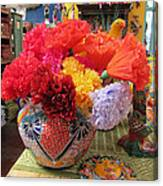 Mexican Paper Flowers And Talavera Pottery Canvas Print