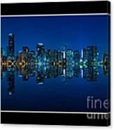 Miami Skyline Night Panorama Canvas Print